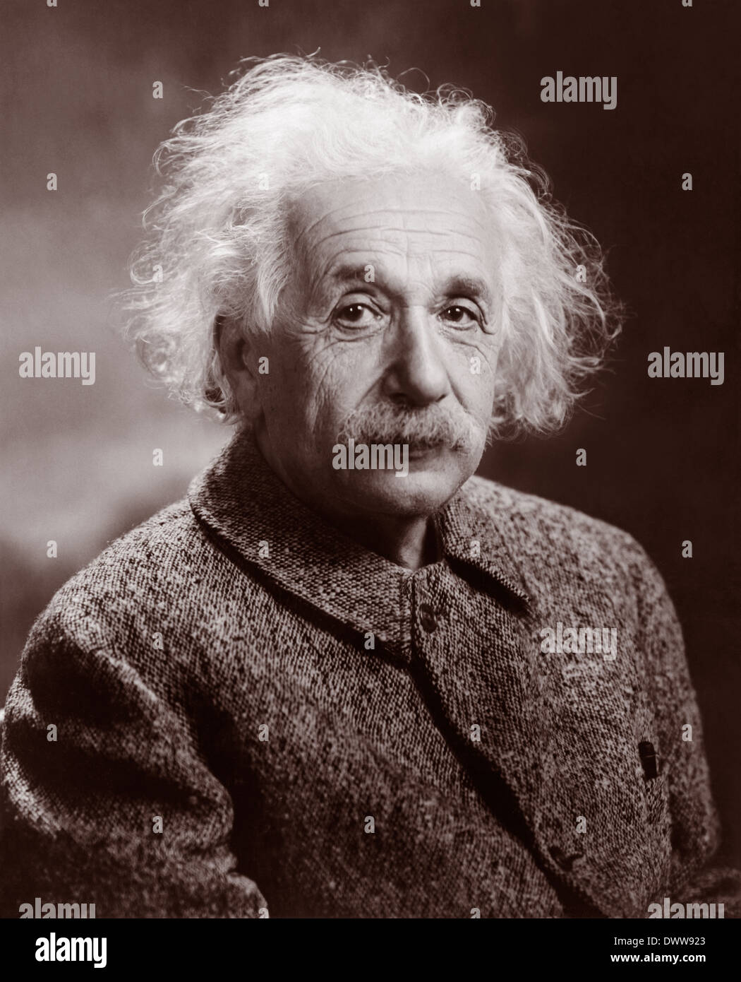 Albert Einstein – c1947 (Restored image from photograph by Orren Jack Turner). - Stock Image