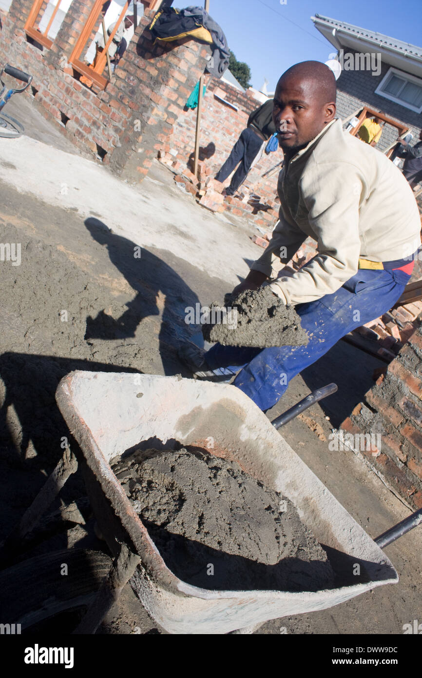 Construction site. Cement consists of a mixture of cement powder and sand, mixed with water to a consistency suitable for - Stock Image