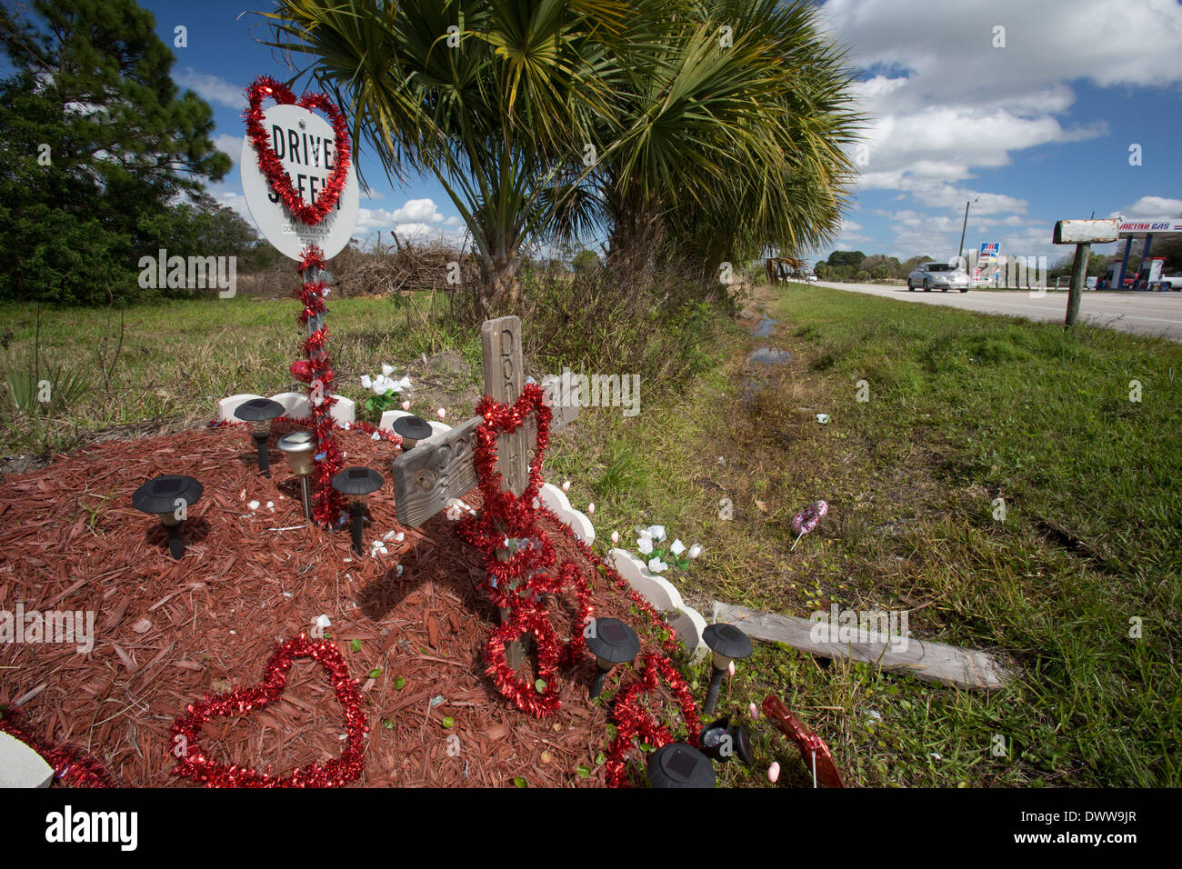 Cypress Quarters, Florida - A roadside memorial for the victim of a traffic accident. - Stock Image