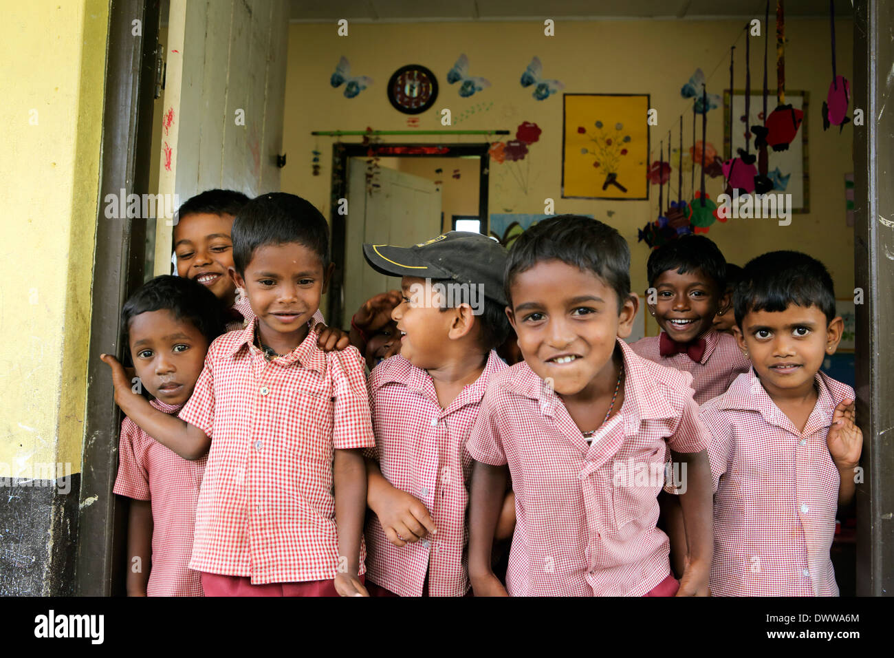 Young boys at primary school inside tea estate - Stock Image