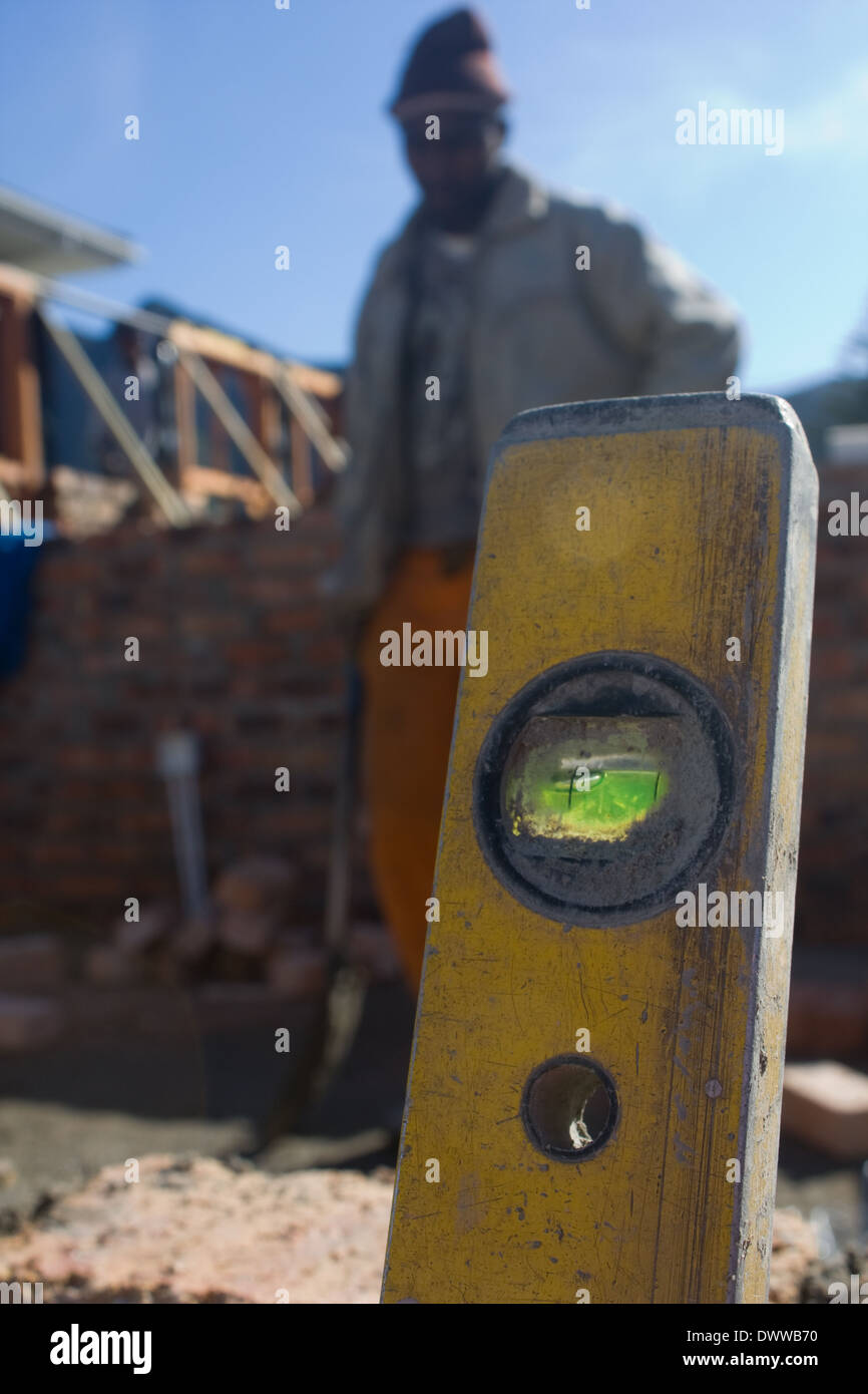 Spirit levels are used to ensure precise and level builing. - Stock Image