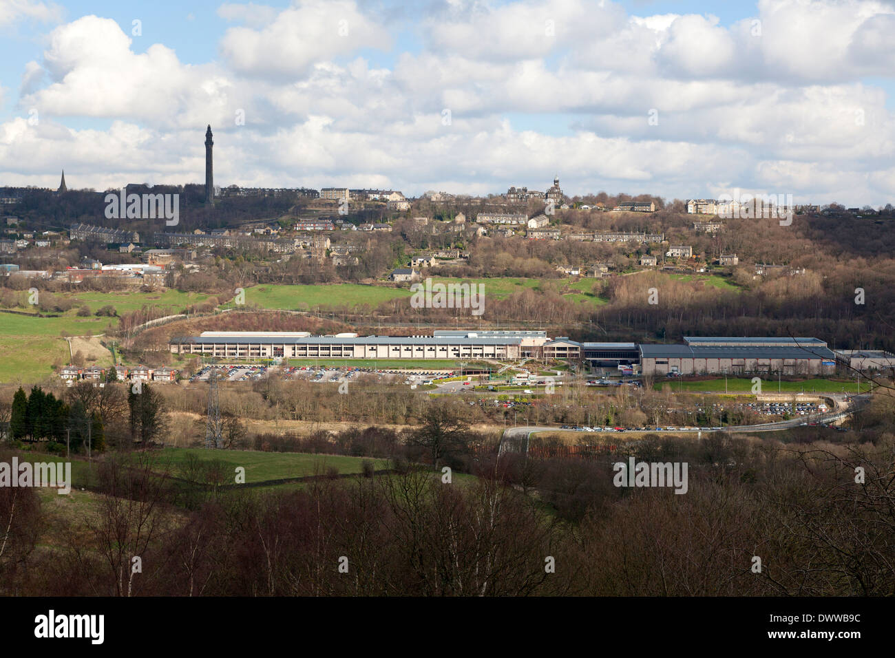 Lloyds Bank Data Centre with Wainhouse Tower in the distance, Copley, West Yorkshire Stock Photo