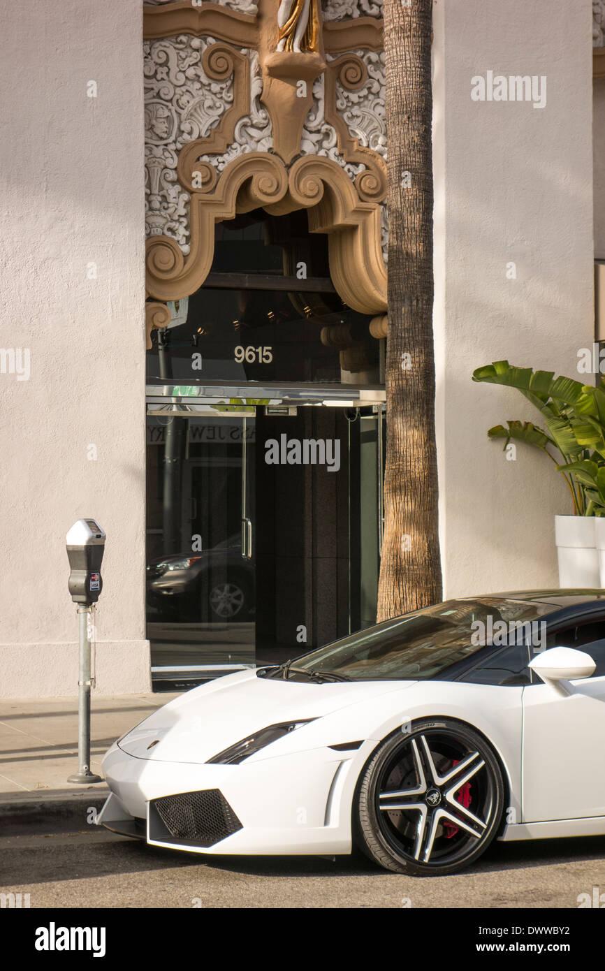 Lamborghini sports car in Beverly Hills Los Angeles California USA - Stock Image