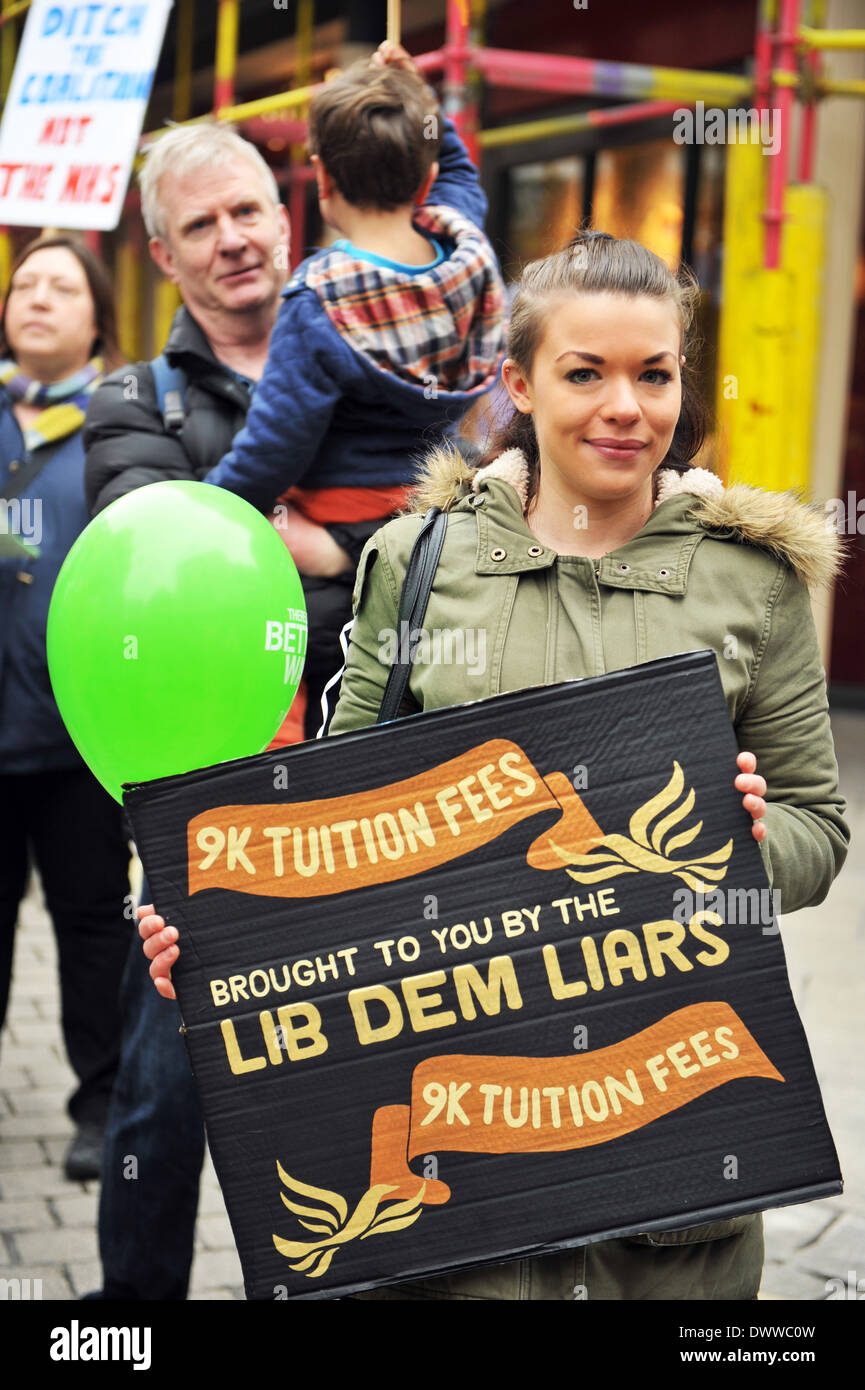 A student protester demonstrates against Tuition Fees at the  Better Way Demo,  Lib Dem Conference, York 8th March 2014 - Stock Image