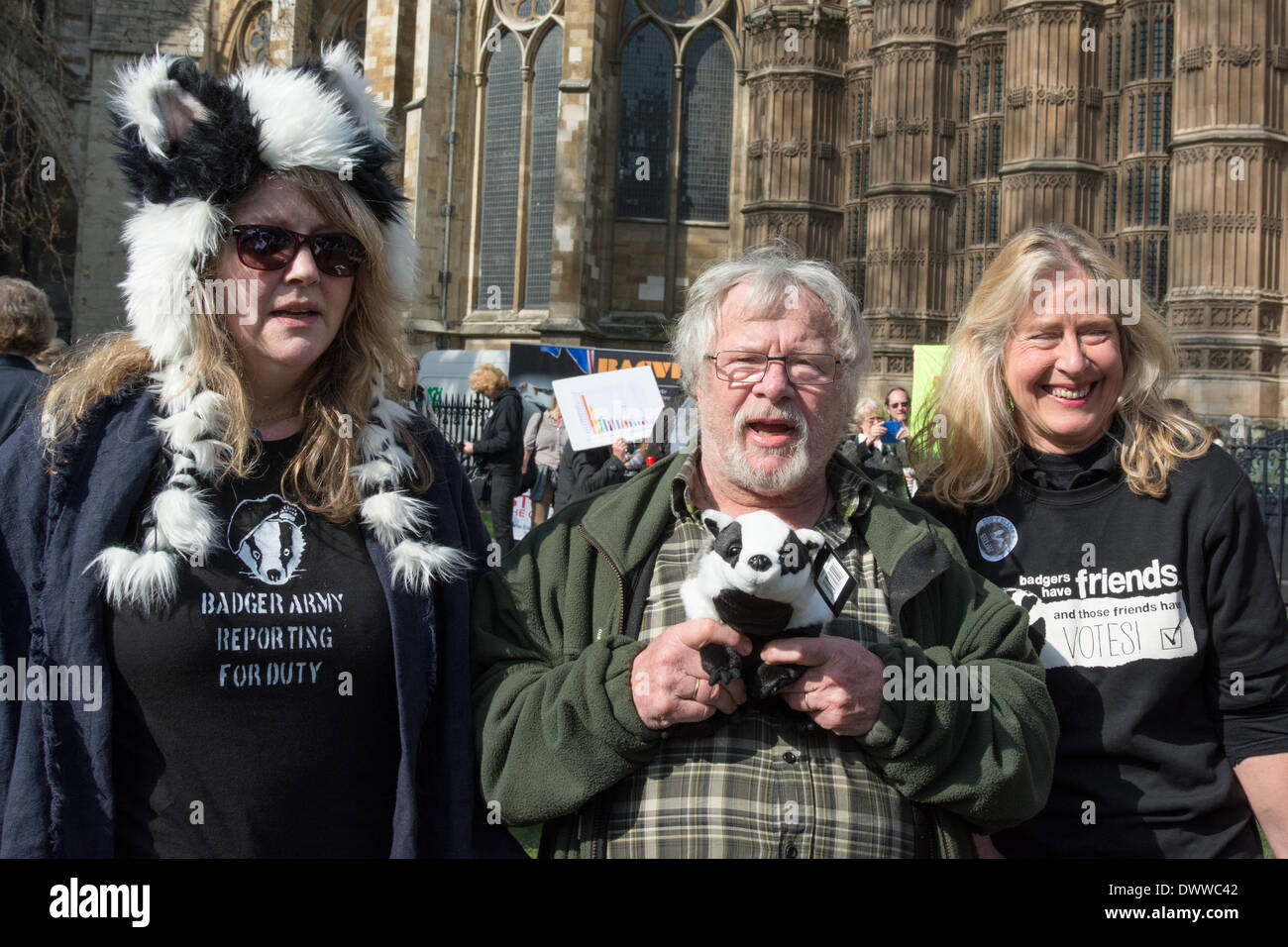 London, UK. 13th Mar, 2014. TV personality and wildlife expert Bill Oddie joins protesters outside Westminster while a parliamentary debate on the controversial badger cull takes place inside the house of commons. Badgers have been linked to the spread of bovine tuberculosis in cattle and experimental culls of badgers were carried out in 2013 in an attempt to stop the spread of the disease. Anti-cull protestors have claimed that the cull is inefficient, inhumane and scientifically flawed. Credit:  Patricia Phillips/Alamy Live News - Stock Image