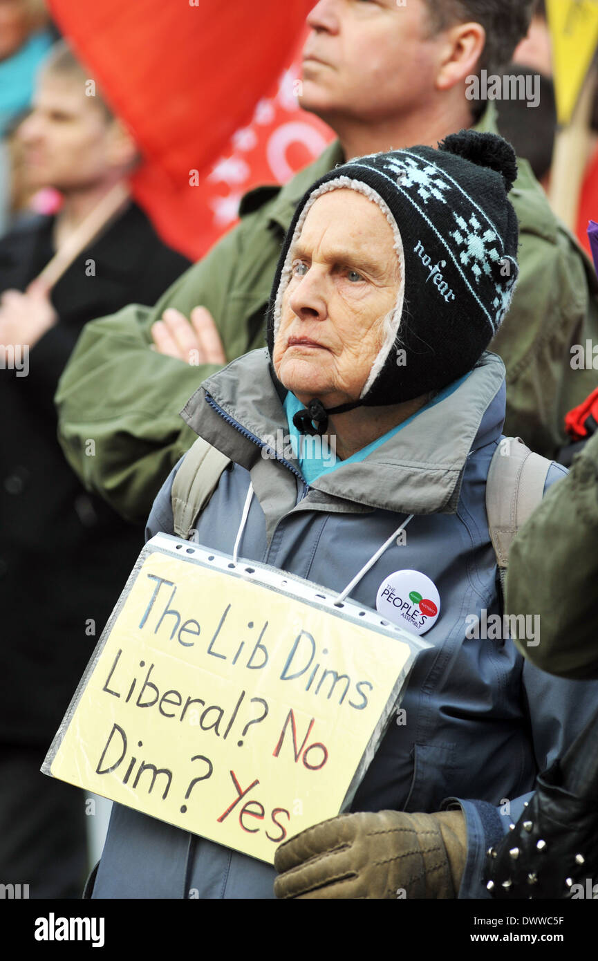 An elderly lady at the Better Way Demo, at the Lib Dem Conference, York 8th March 2014 - Stock Image