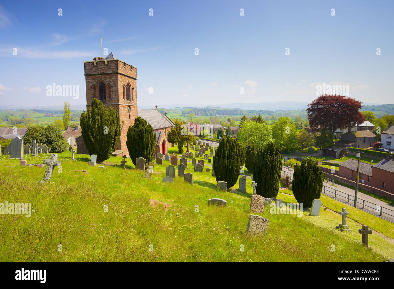 St. Nicholas Church rural church Lazonby, Cumbria, England, United Kingdom. Looking East over the Eden Valley. - Stock Image