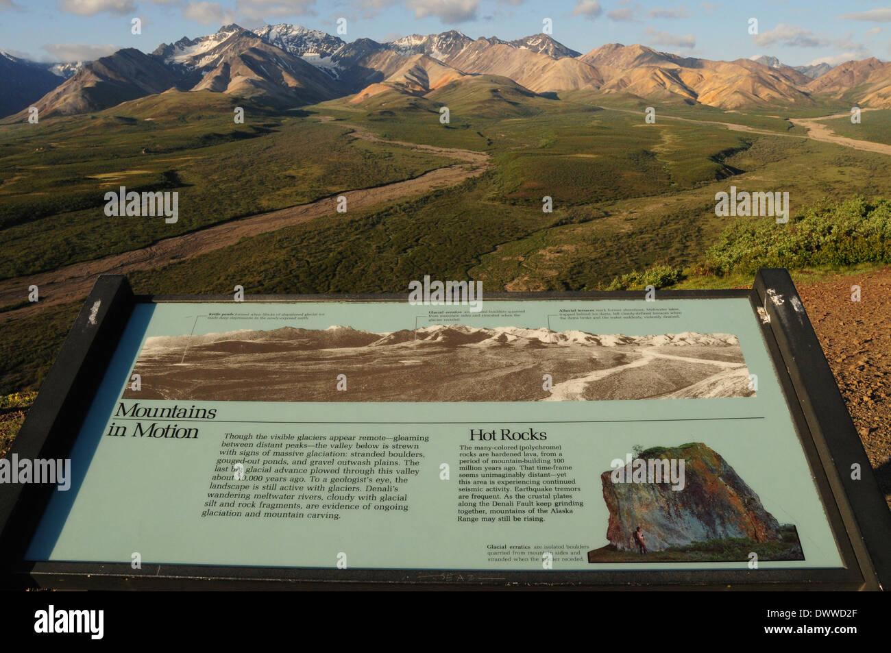 Interpretation Board at Polychrome Overlook, Denali National Park, Alaska. USA - Stock Image