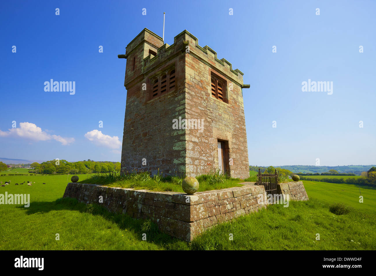 St Oswald's Church Belltower, Kirkoswald Eden Valley, Cumbria, England, United Kingdom - Stock Image