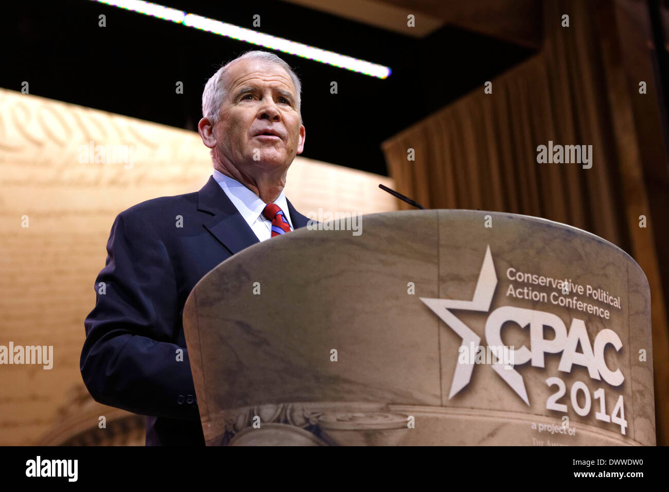 Republican figure and central character in the Iran-Contra scandal, former Lt Col Oliver North pictured at CPAC . - Stock Image
