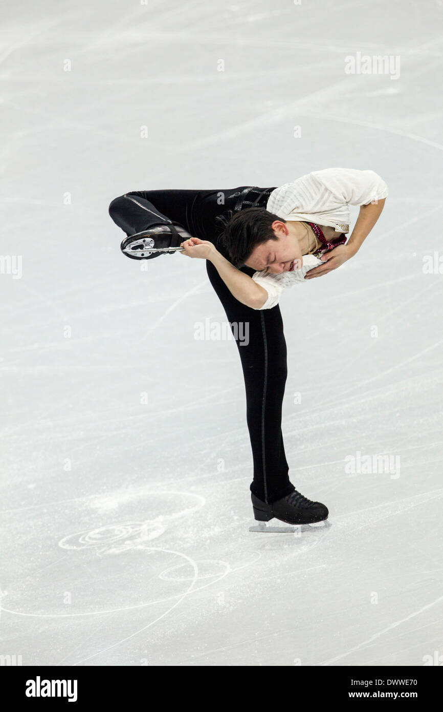 Denis Ten (KAZ) competing in the Men's Free Skating Figure Skating at the Olympic Winter Games, Sochi 2014 - Stock Image