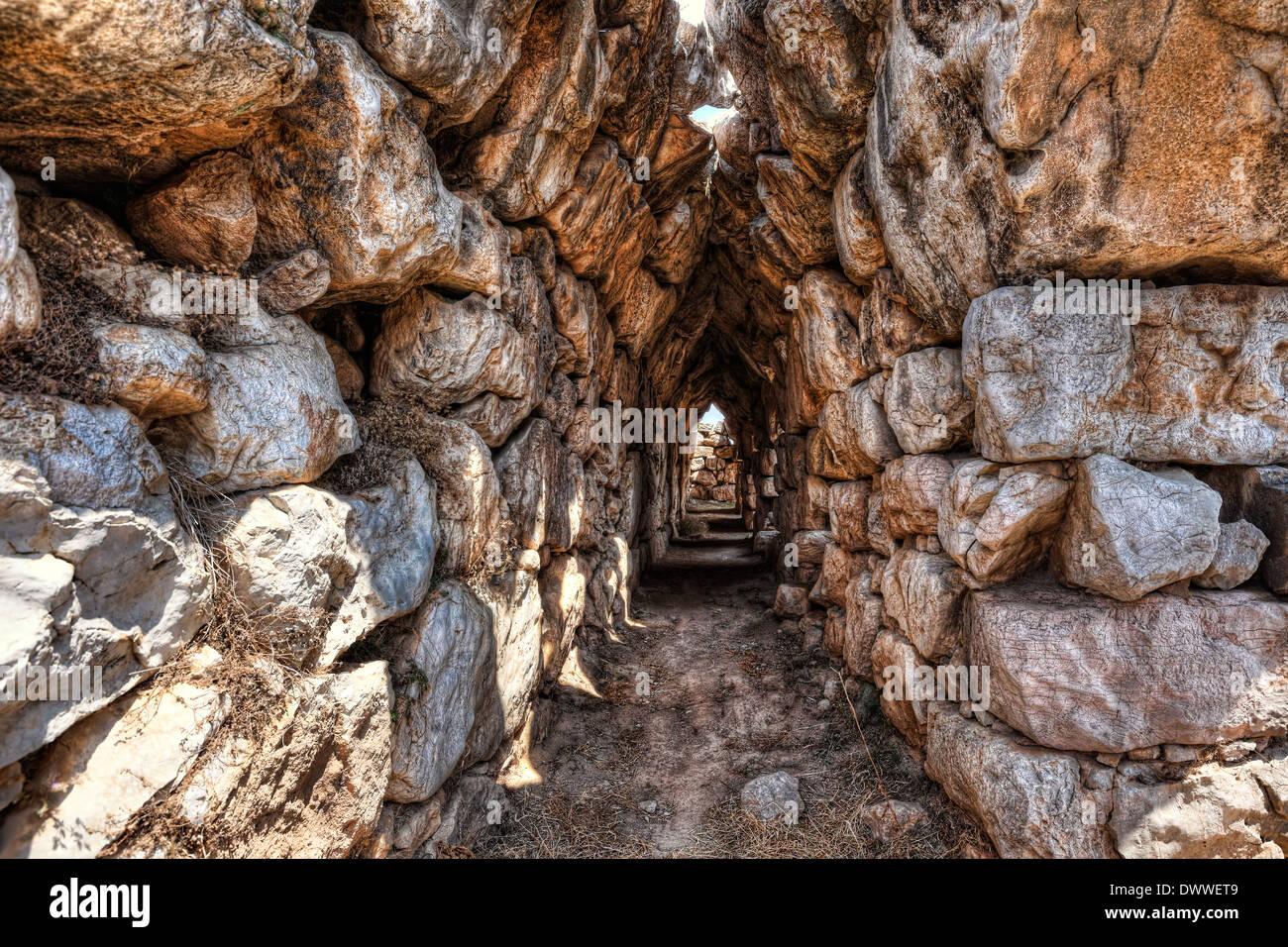The Cyclopean Walls in Tiryns (1.400 - 1.200 B.C.), Greece - Stock Image