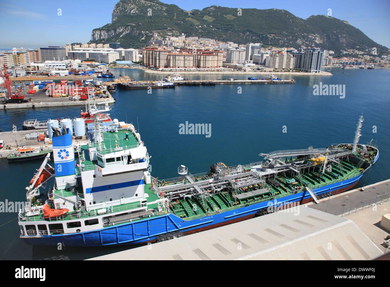 Oil products tanker mt HALKI moored in Gibraltar harbor - Stock Image