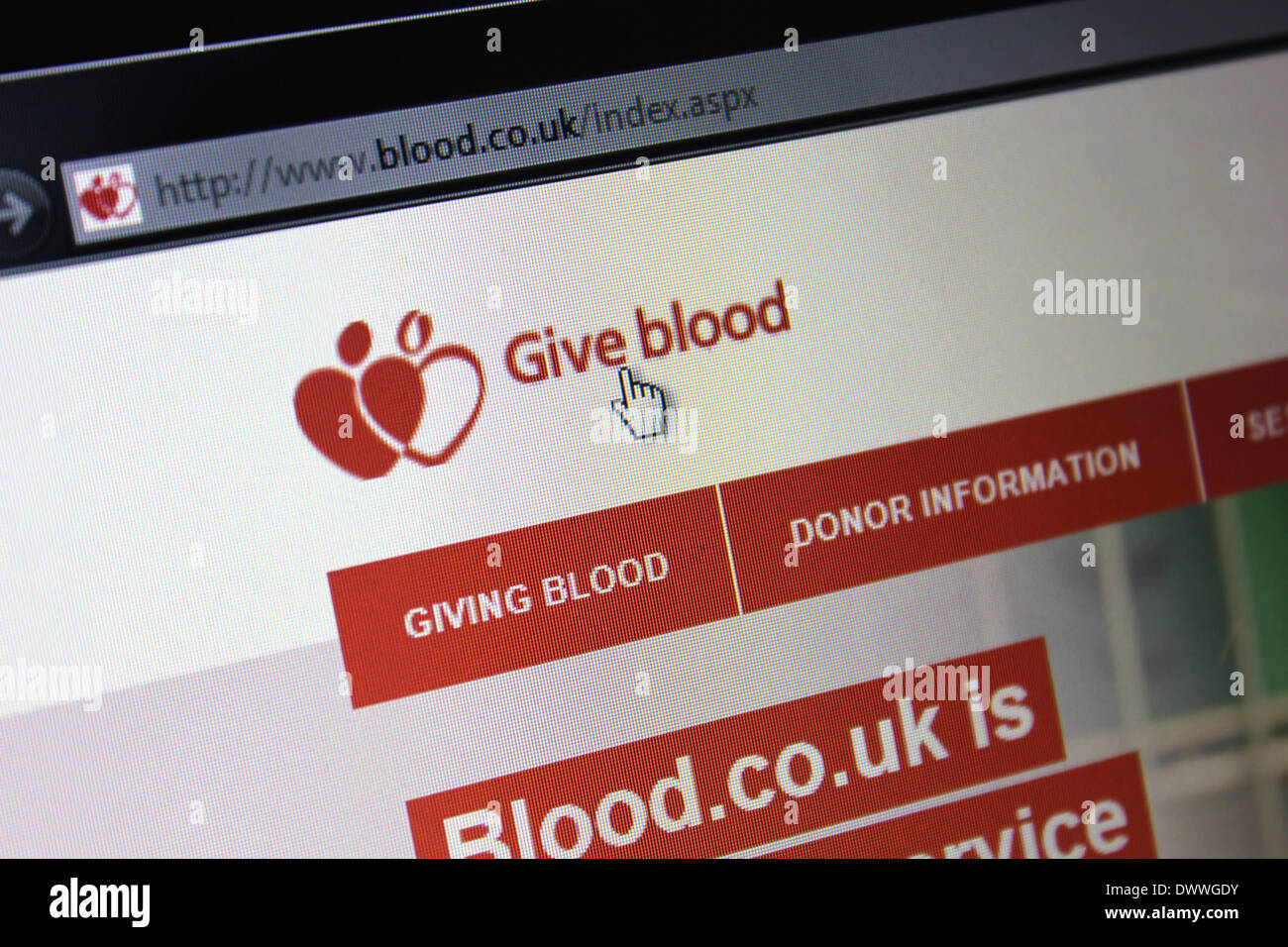 Blood donation website - Stock Image