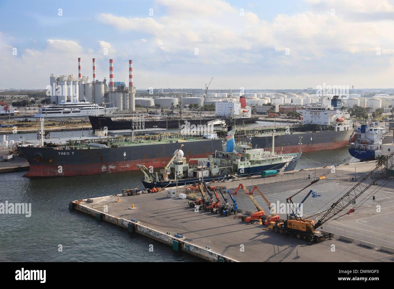 Crude Oil tanker THEO T docked in Port Everglades harbor Florida - Stock Image