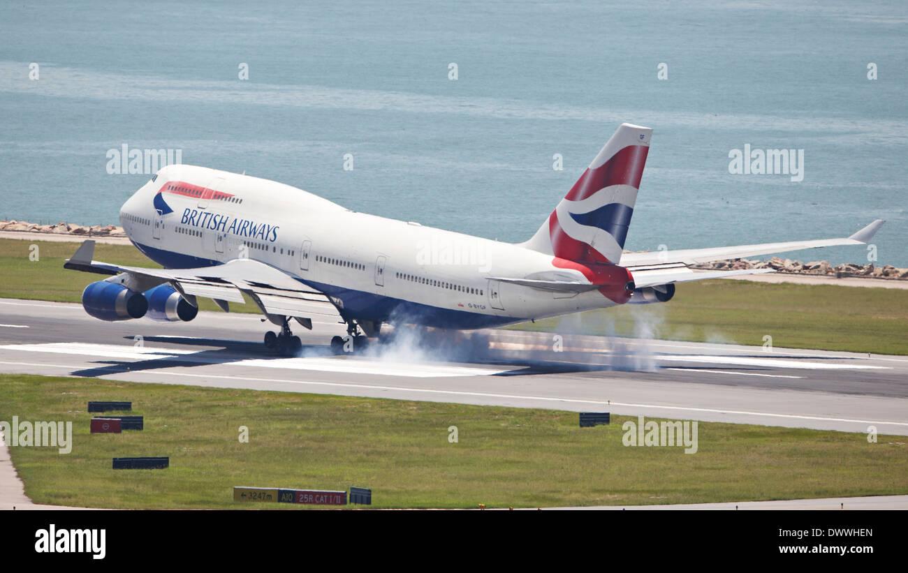 British Airway Passenger Aircraft Landing On Hong Kong
