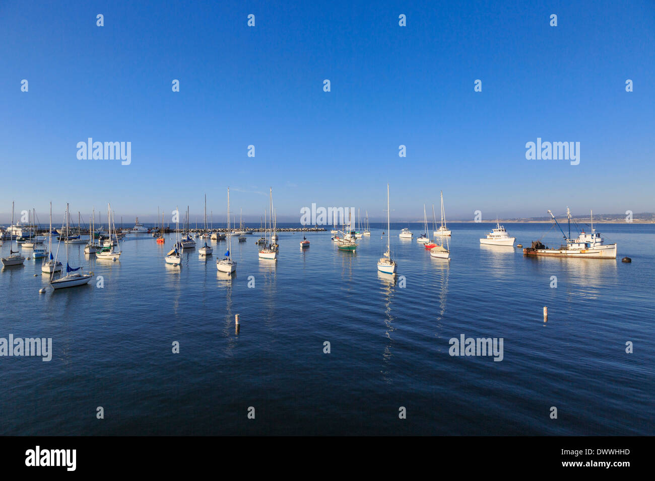 Monterey Bay marina with commercial fishing and recreational sailing boats. - Stock Image