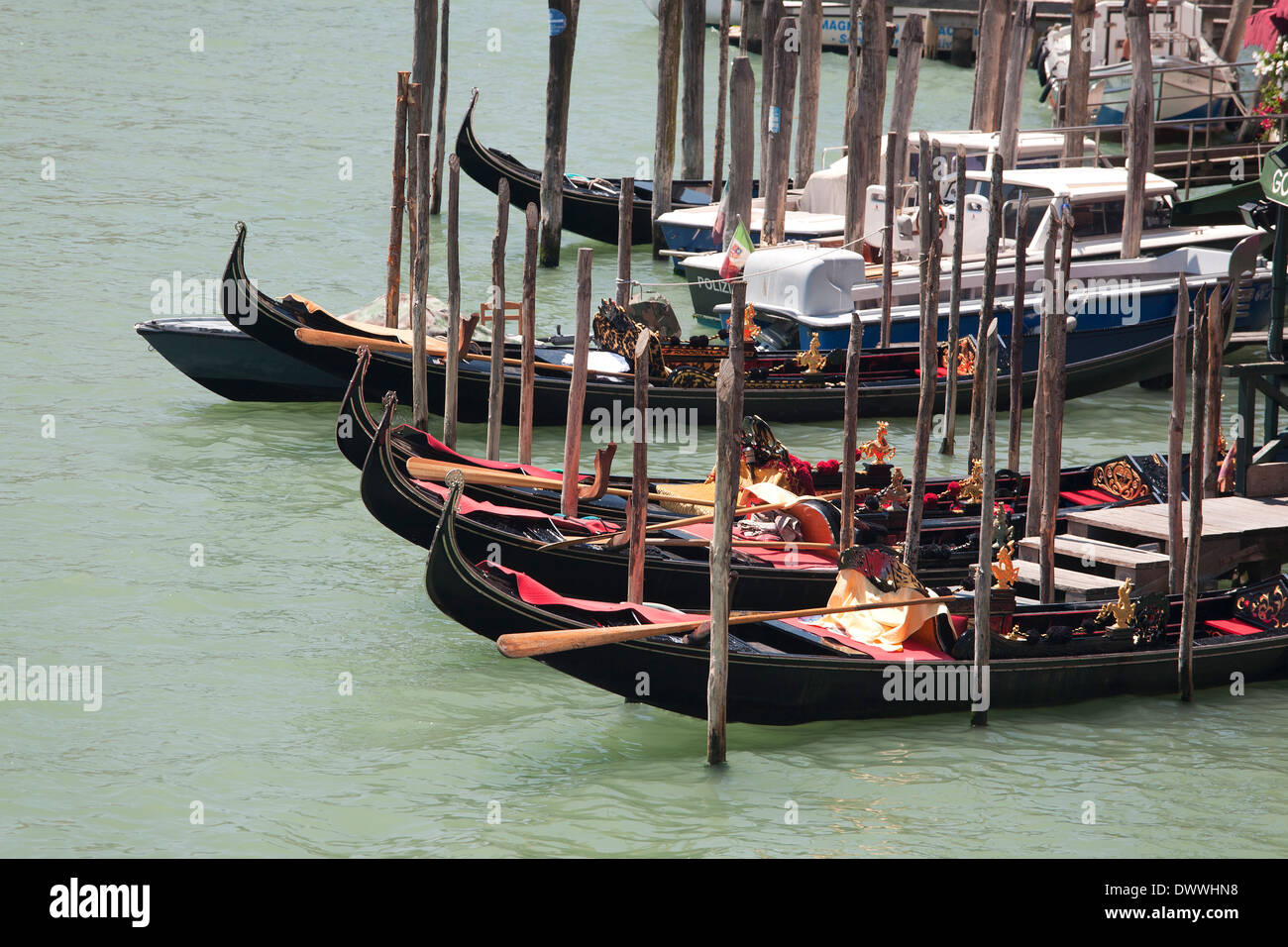 Venice - gondolas on Grand Canal - Stock Image