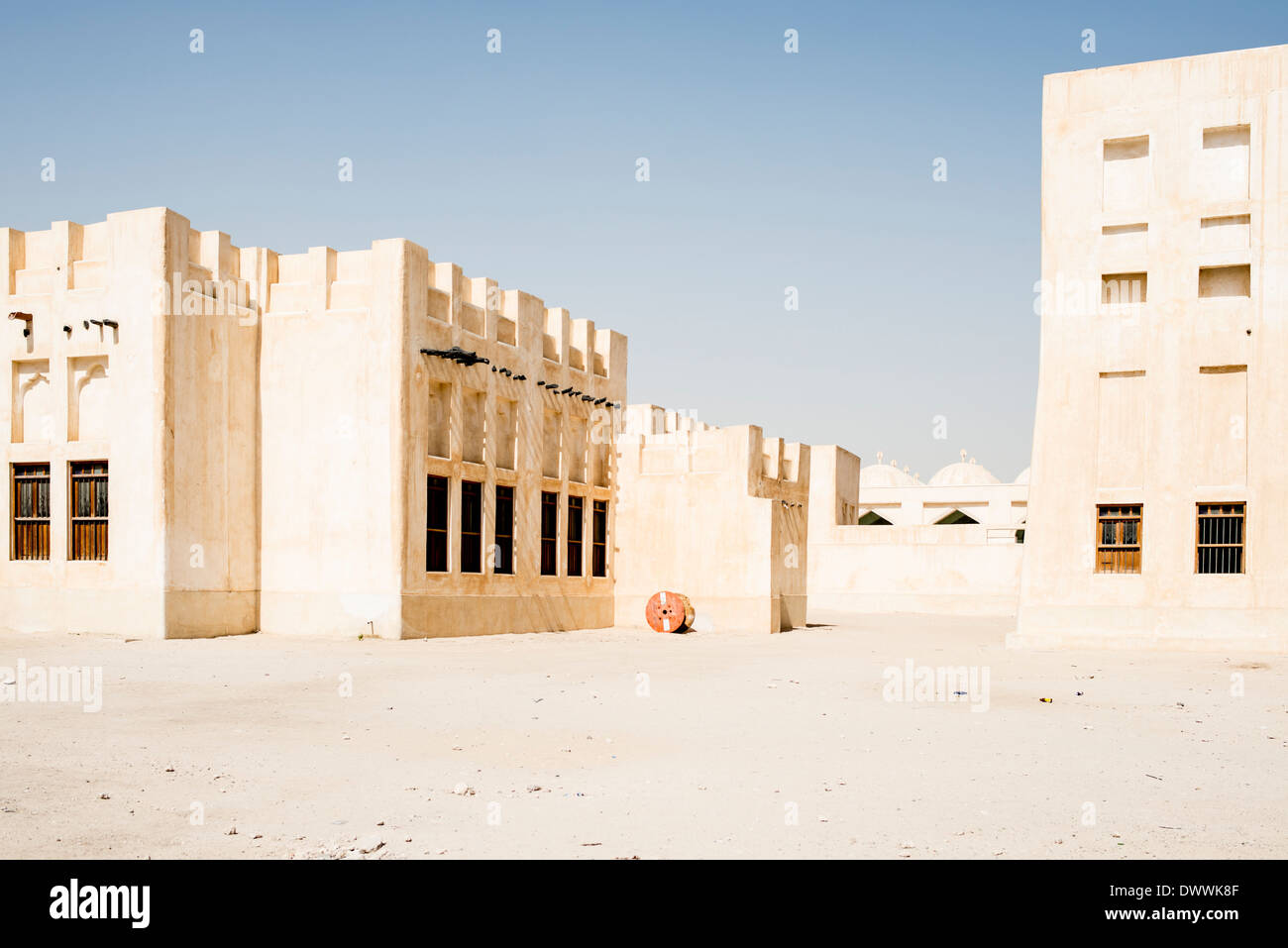 Mud-brick buildings, Doha Stock Photo