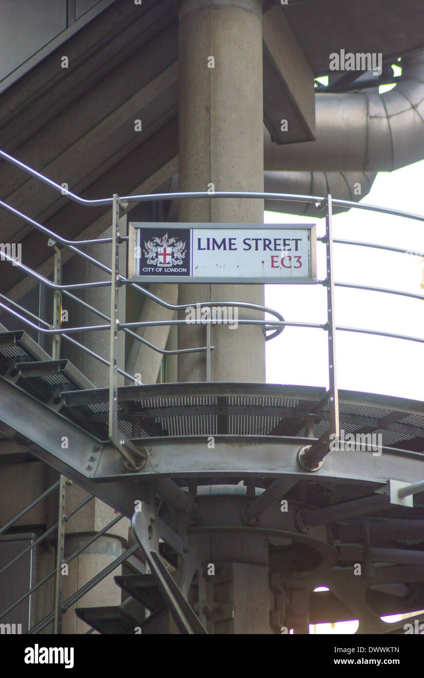 Lime street sign City of London Lloyds Building - Stock Image