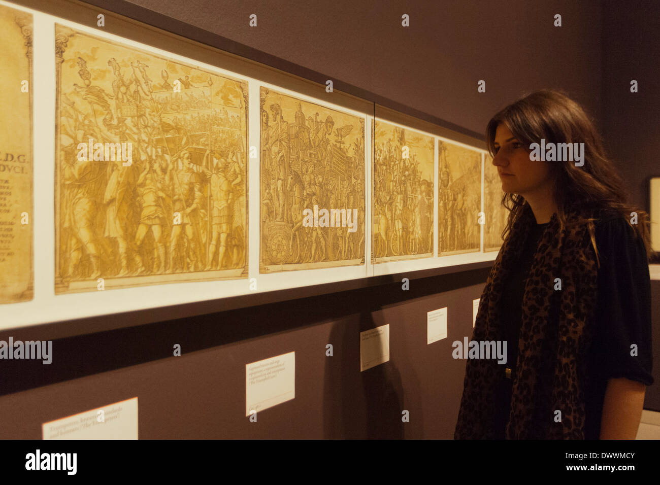 Renaissance Impressions: Chiaroscuro Woodcuts, Exhibition at the Royal Academy of Arts, London - Stock Image