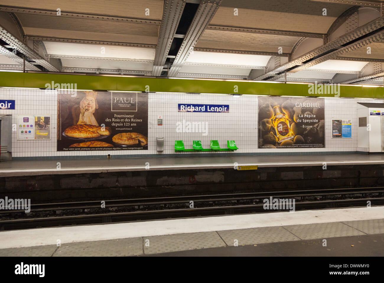 Richard Lenoir metro station, Paris, France - Stock Image