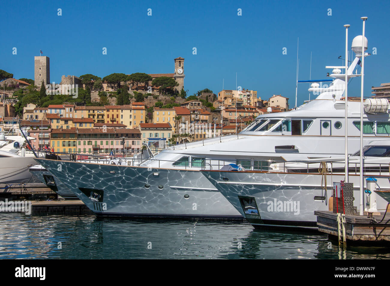 The harbor in Cannes old town on the Cote d'Azur in the South of France. - Stock Image