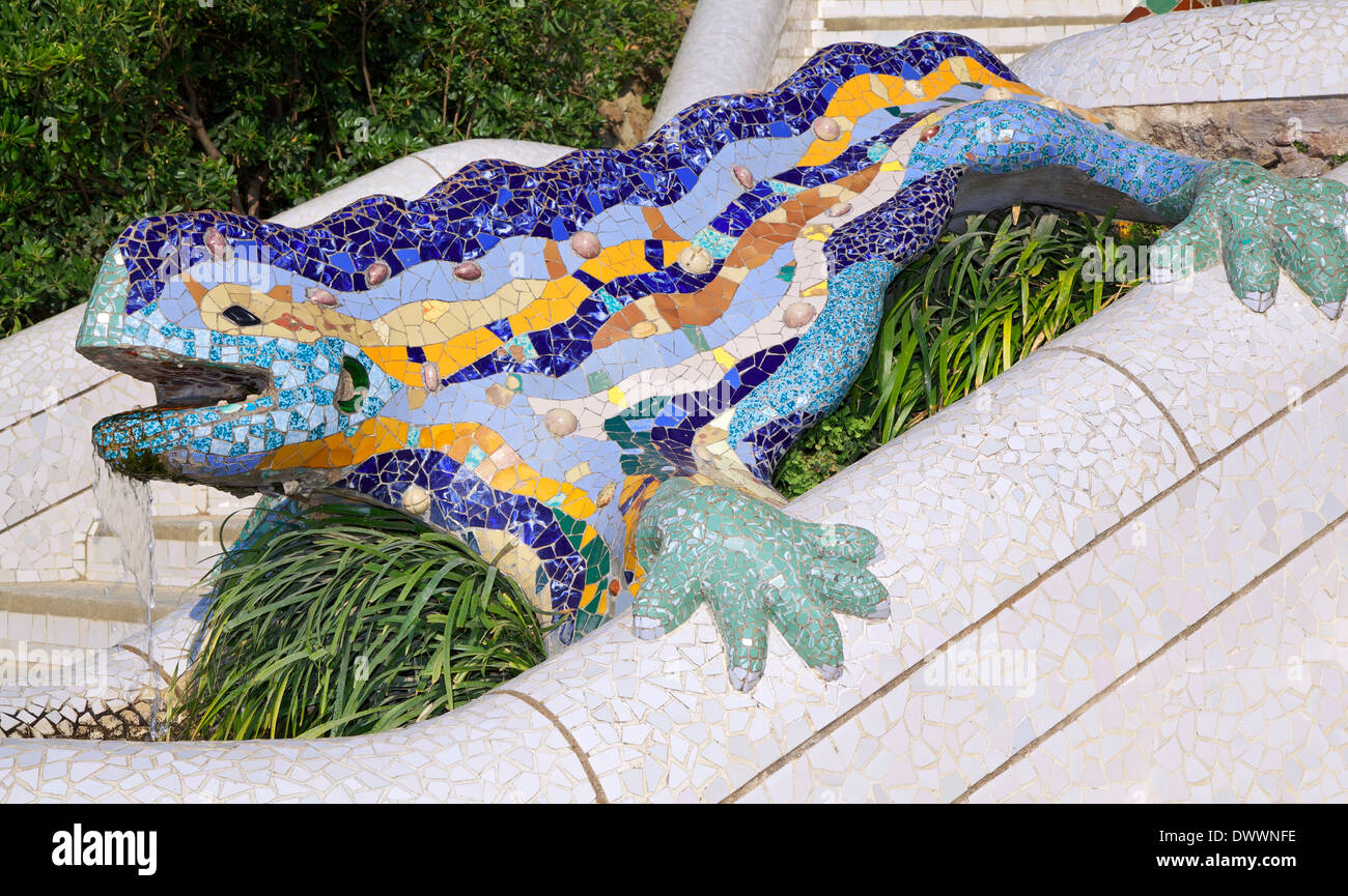 Antoni Gaudy's salamander, the symbol of  Parc Guell in Barcelona - Stock Image