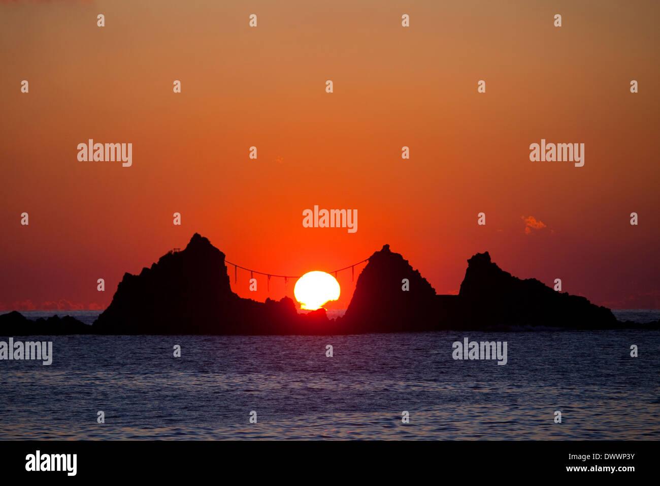 Rocks in sea at dawn, Kanagawa Prefecture, Japan - Stock Image