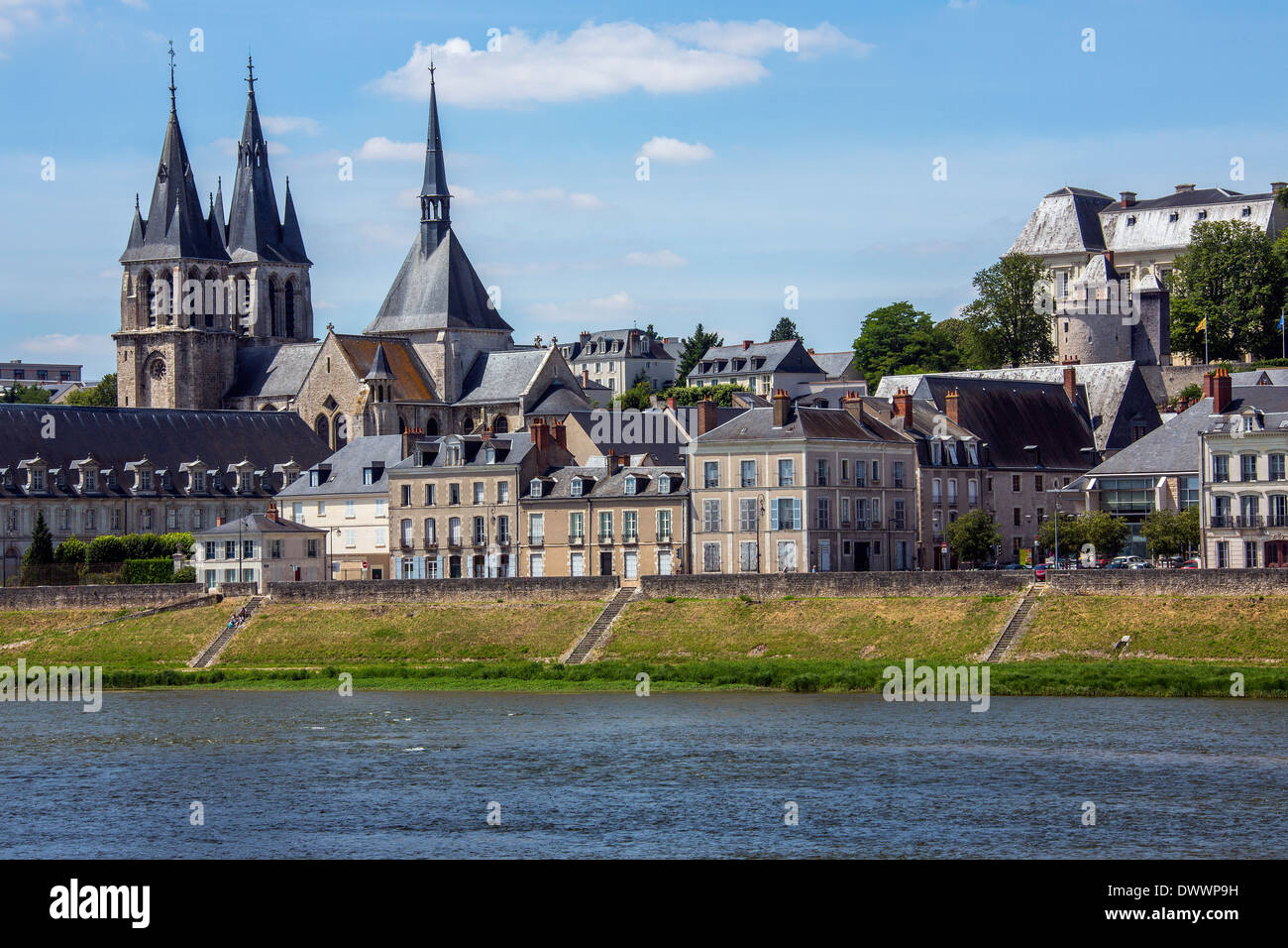 The town of Blois by the Loire River in the Loire Valley in France. - Stock Image