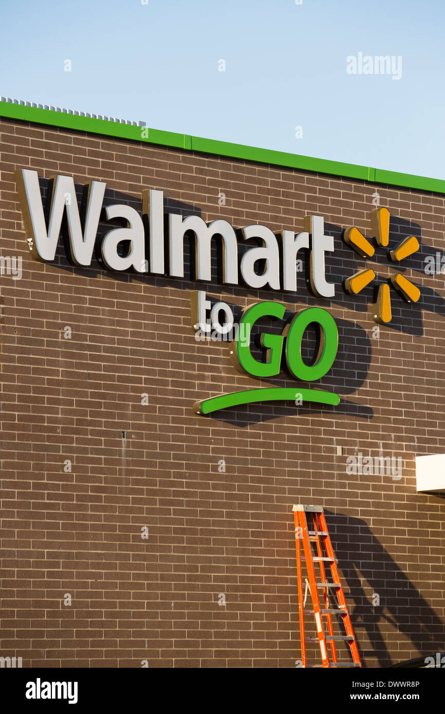 The sign on the outside of the new Walmart To Go concept convenience store under construction in Bentonville, AR, Stock Photo