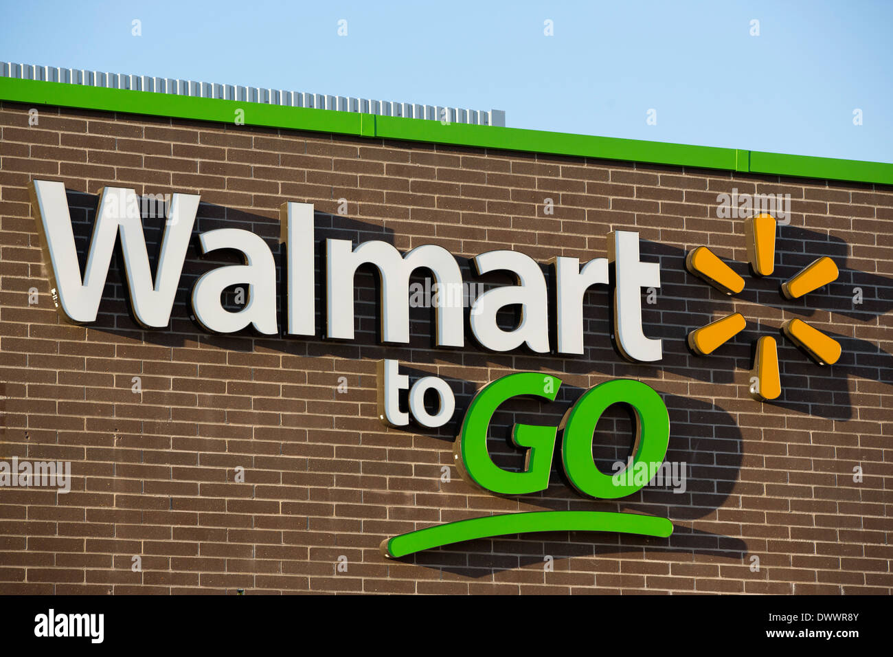 The sign on the outside of the new Walmart To Go concept convenience store in Bentonville, AR, USA. Stock Photo
