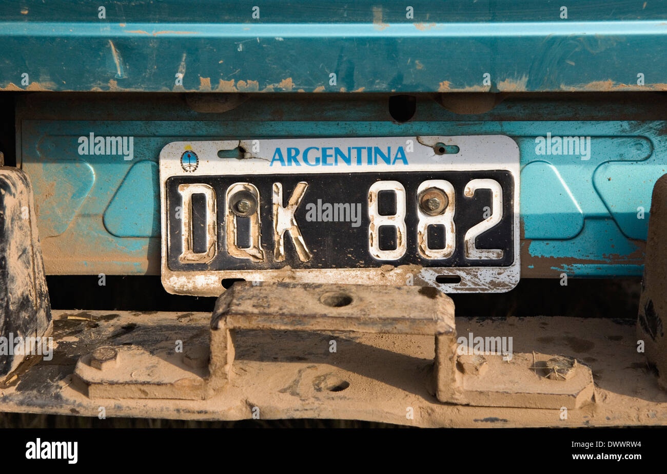 License Plate on the back of a Truck at Jacana Lodge in the Rio Negro Province of Argentina - Stock Image