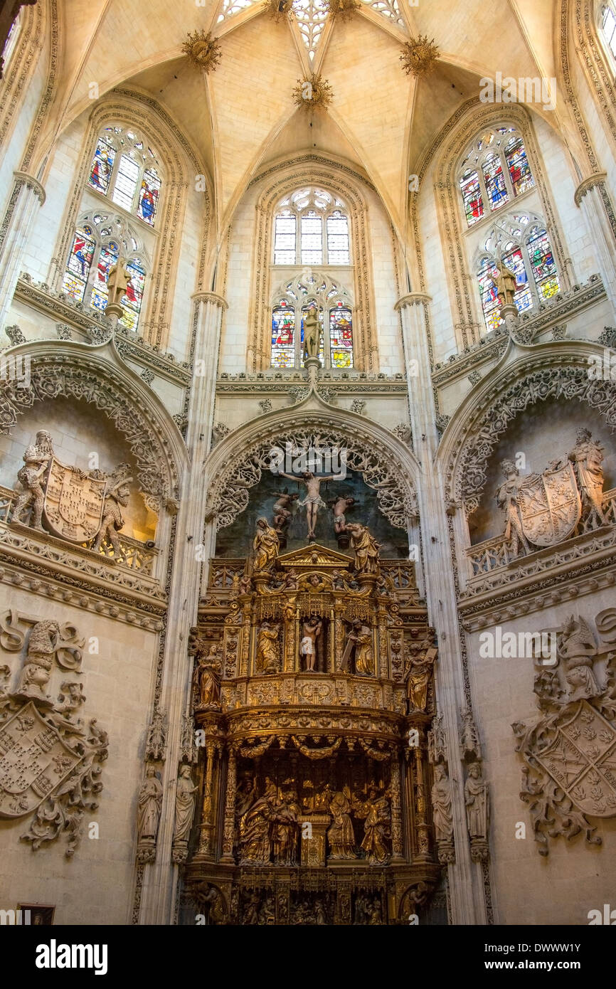 Interior of Burgos Cathedral in the city of Burgos in northern Spain. - Stock Image