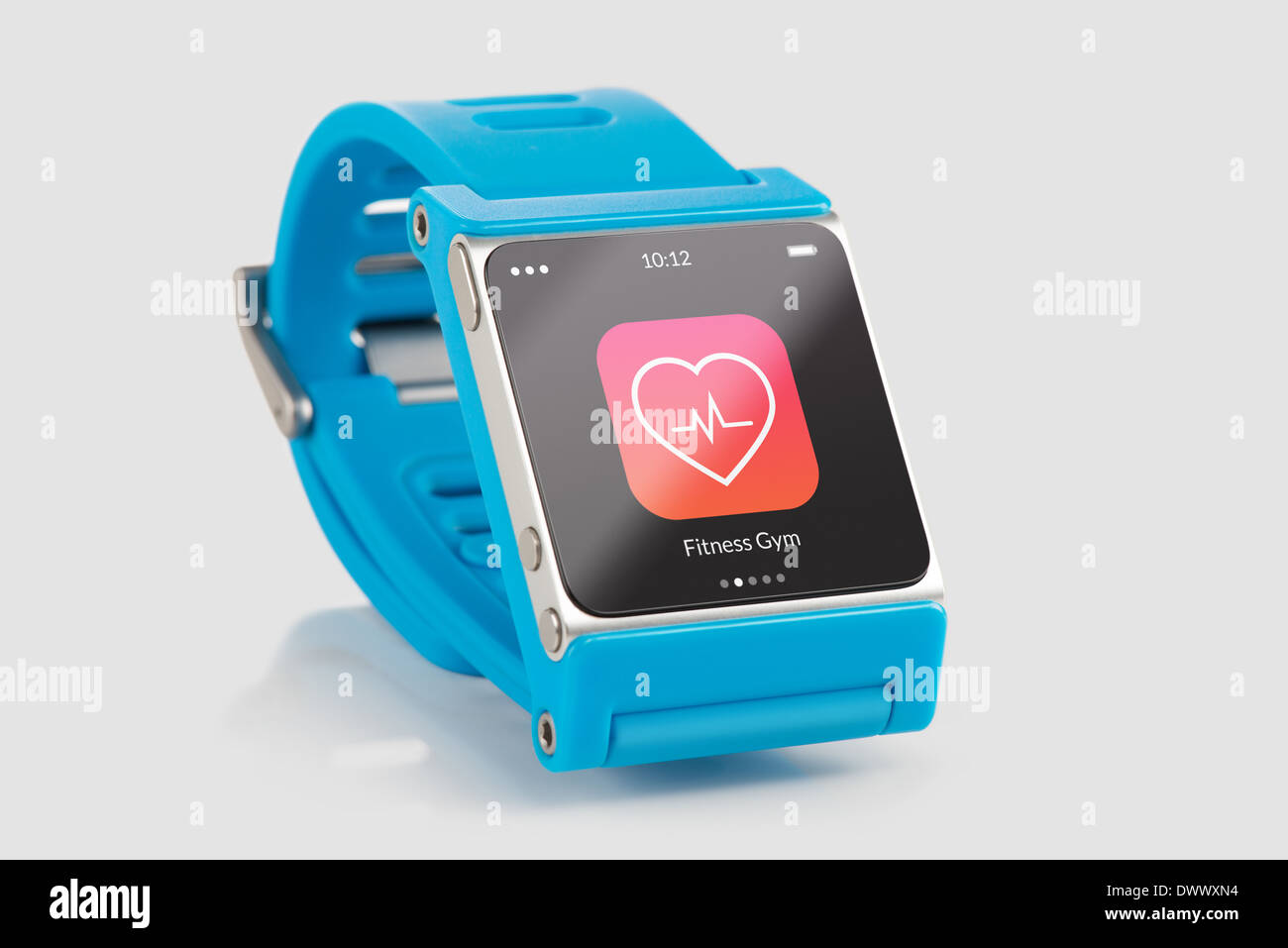Close up blue smart watch with fitness app icon on the screen - Stock Image