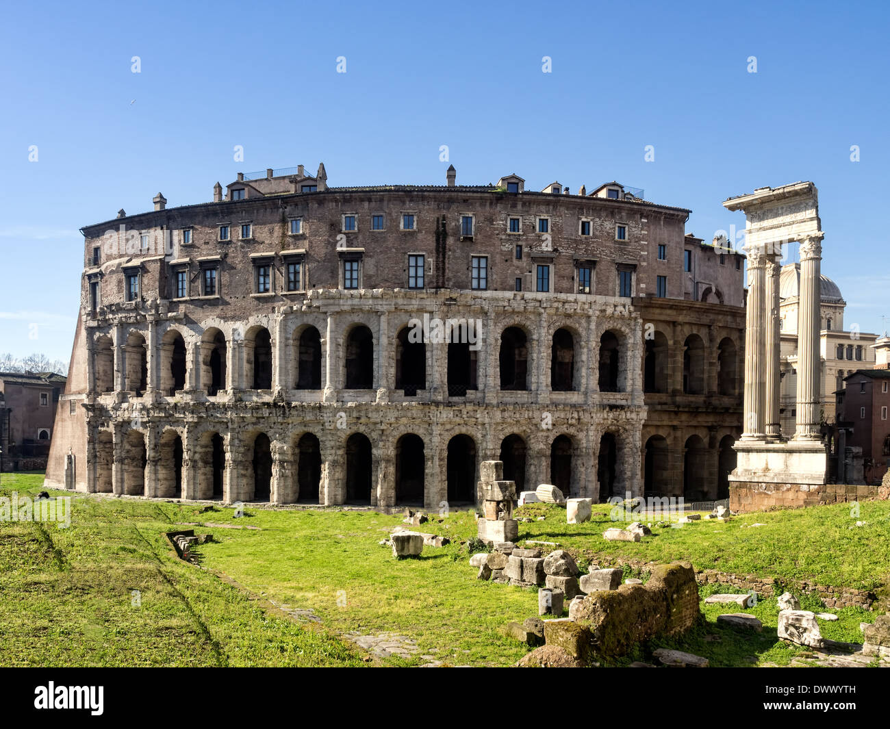 The ancient Theatre of Marcellus (13 BC) in Rome was begun by Julius Caesar, but finished by Augustus Stock Photo