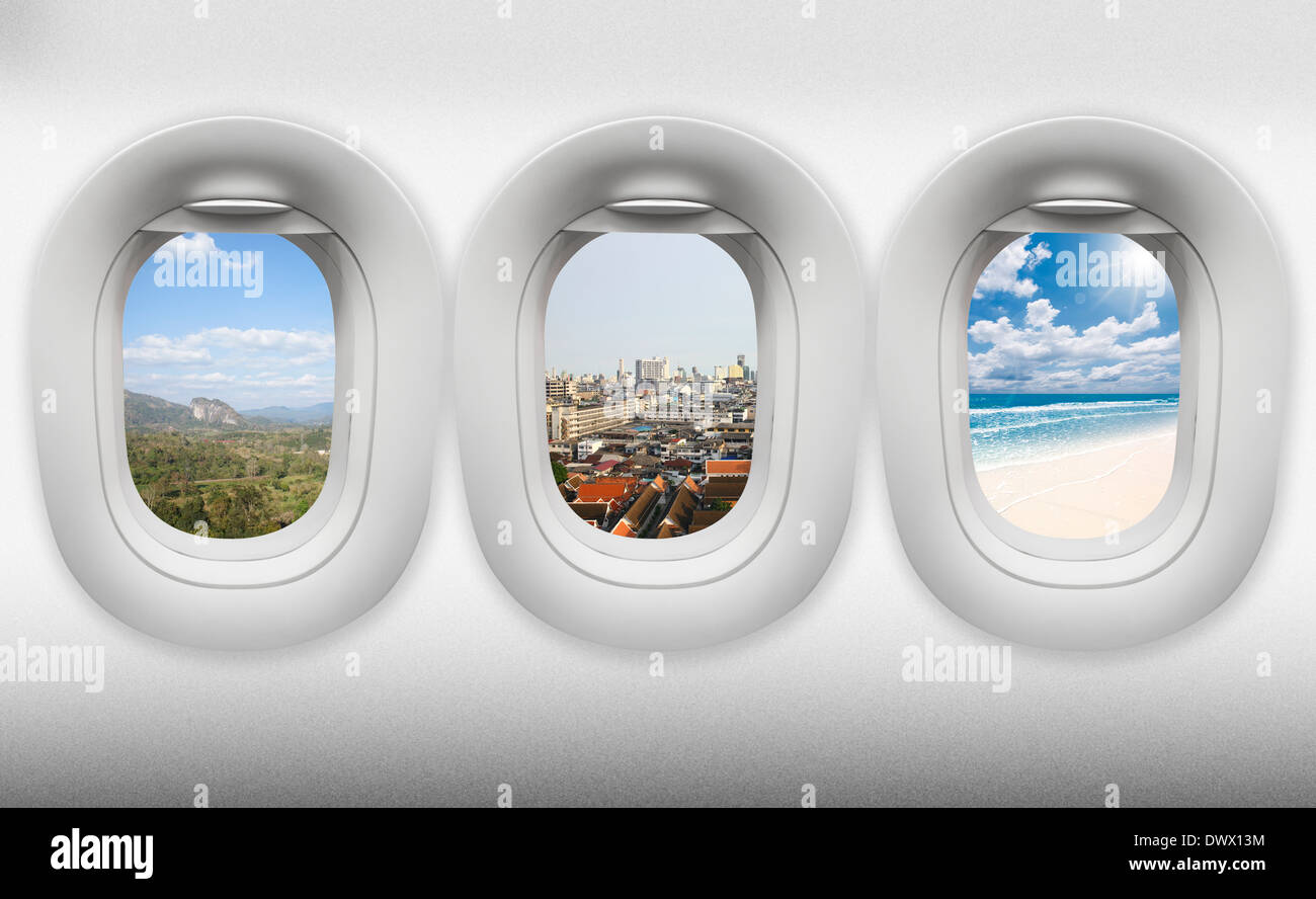 travel thailand, view of window aircraft.(paths inside easy replacement) - Stock Image
