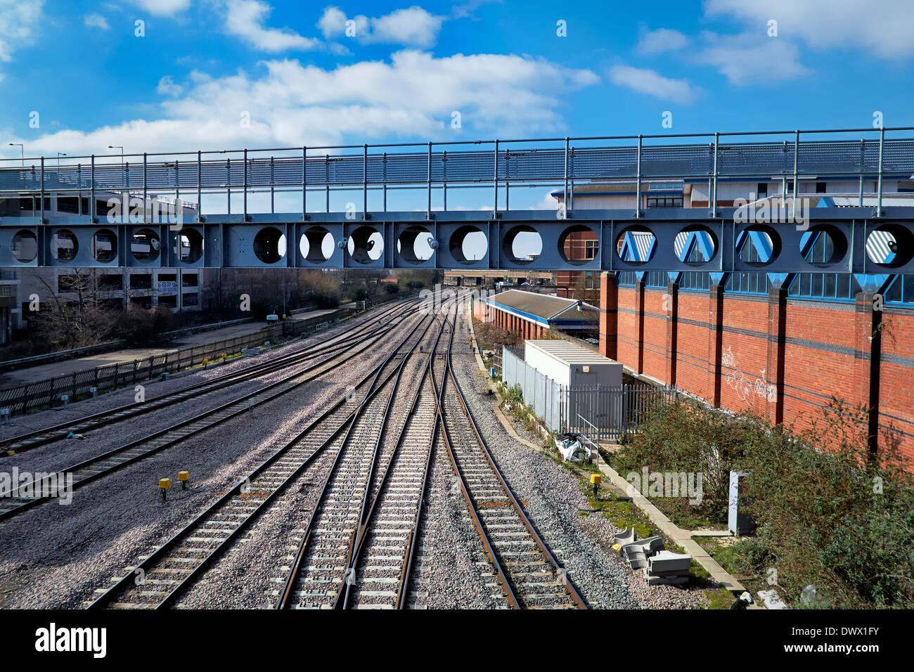 The railway lines that approach Nottingham midland railway station England uk - Stock Image