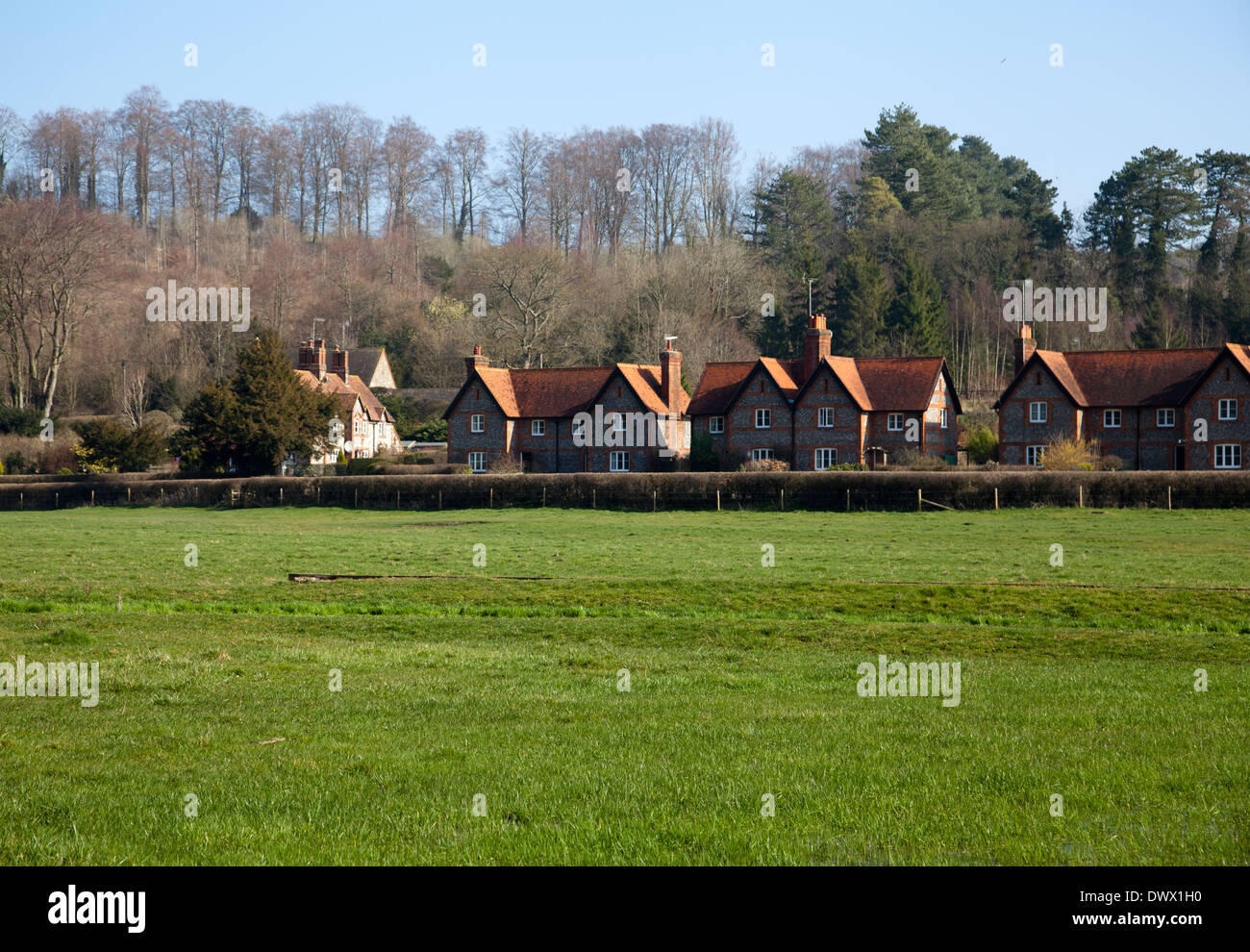 Hambleden Village Homes in Buckinghamshire in UK - Stock Image