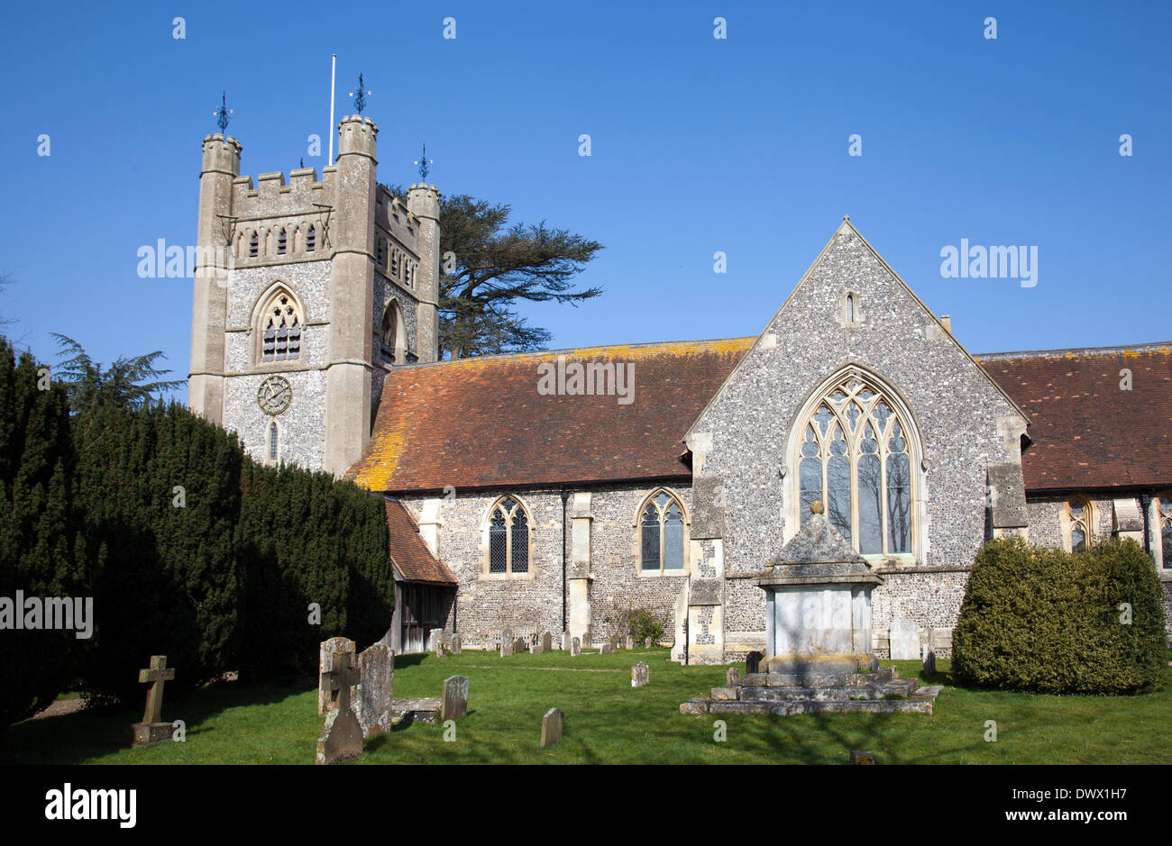 St Mary the Virgin Church in Hambleden - Buckinghamshire UK - Stock Image