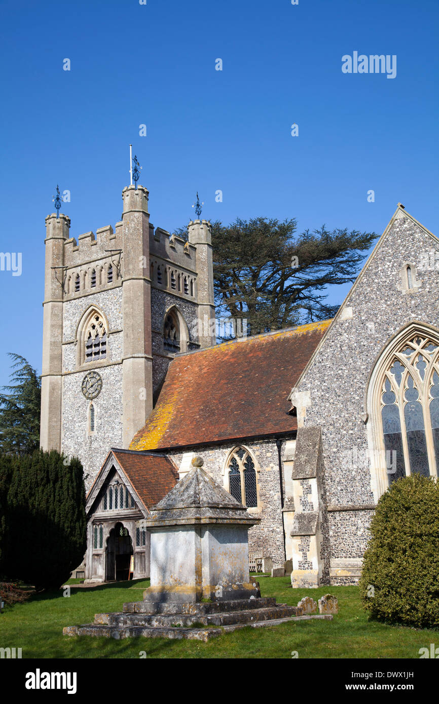 Hambleden Village Church - St Mary the Virgin - in Buckinghamshire in UK - Stock Image