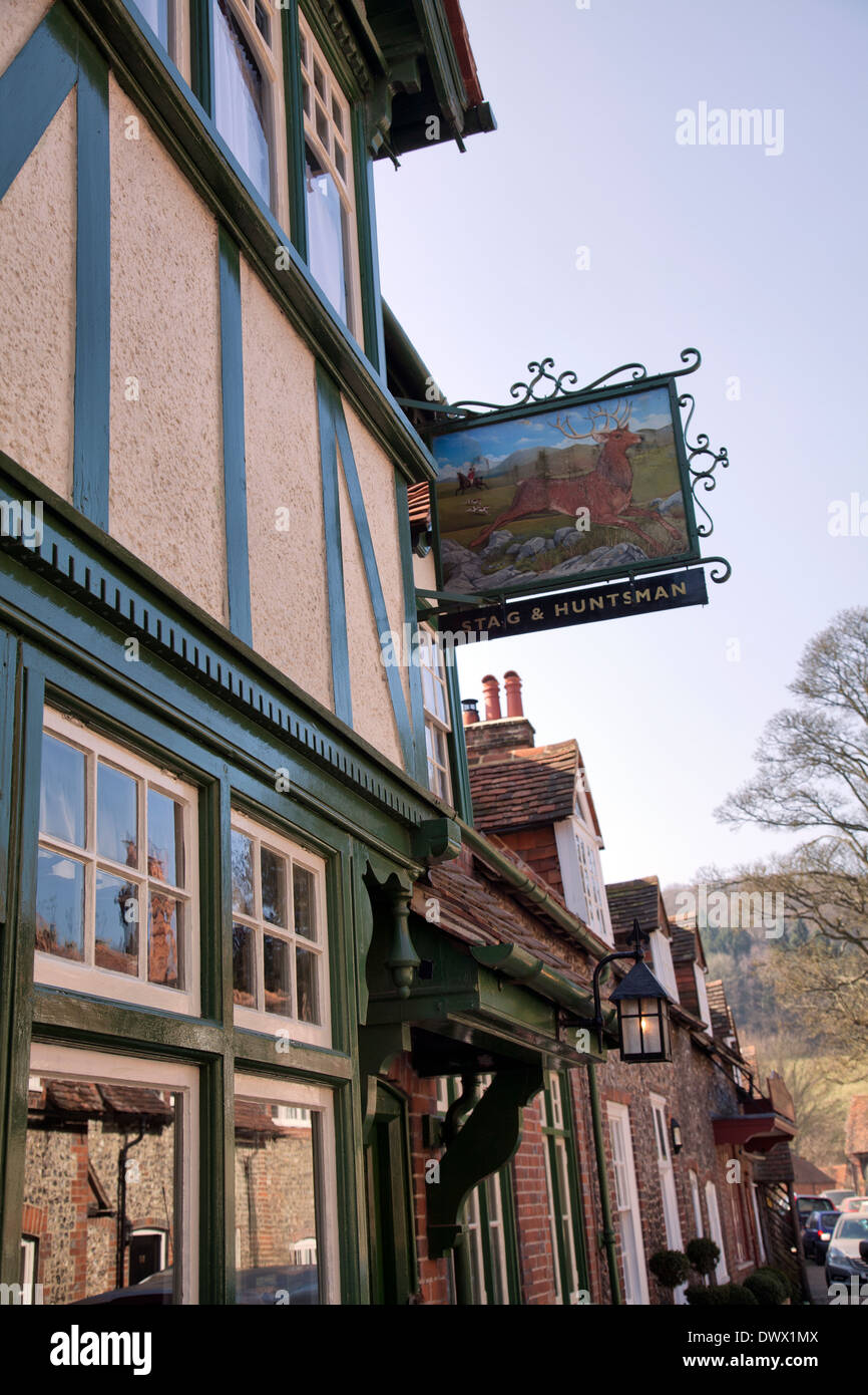 Hambleden Village Stag and Huntsman Pub in Buckinghamshire in UK - Stock Image