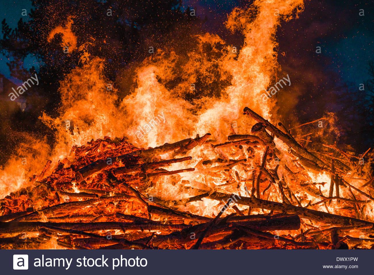 Fire burning at night - Stock Image