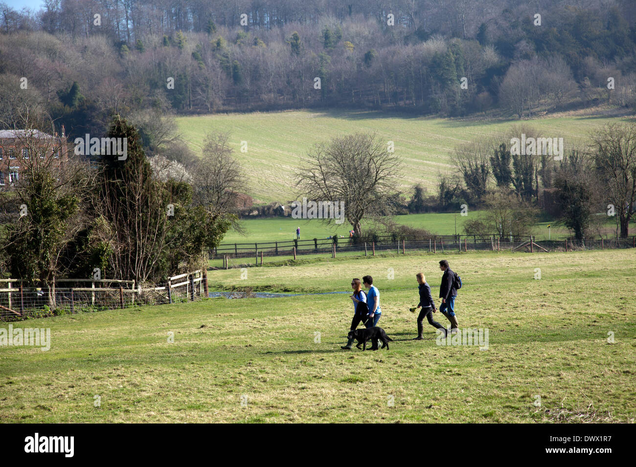 Ramblers in Hambleden walking Chiltern Hills in Buckinghamshire in UK - Stock Image