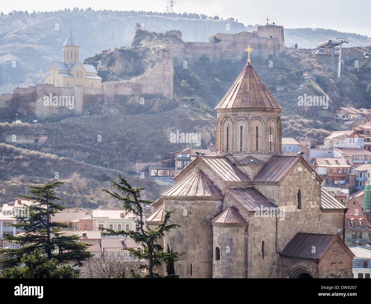 Metekhi church in the old town of Tbilisi, the capital of Georgia. - Stock Image
