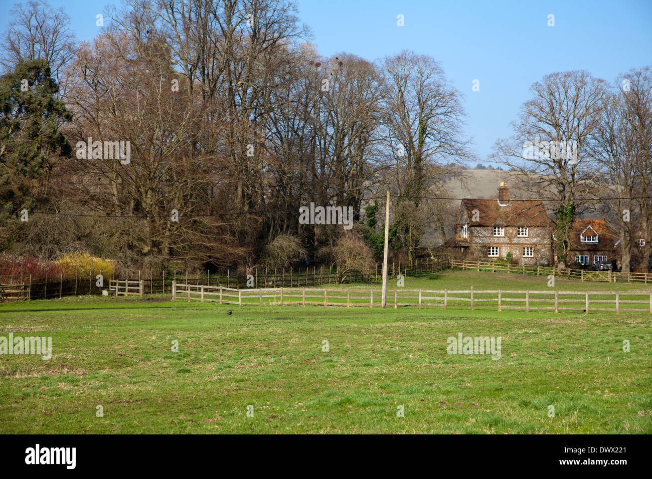 Hambleden Village Cottage and Land in Buckinghamshire in UK - Stock Image