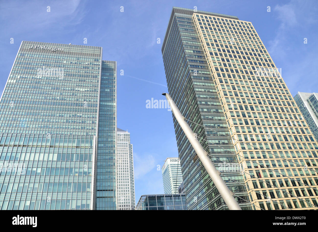 Office Blocks in Canary Wharf, Docklands, East London, England, UK - Stock Image