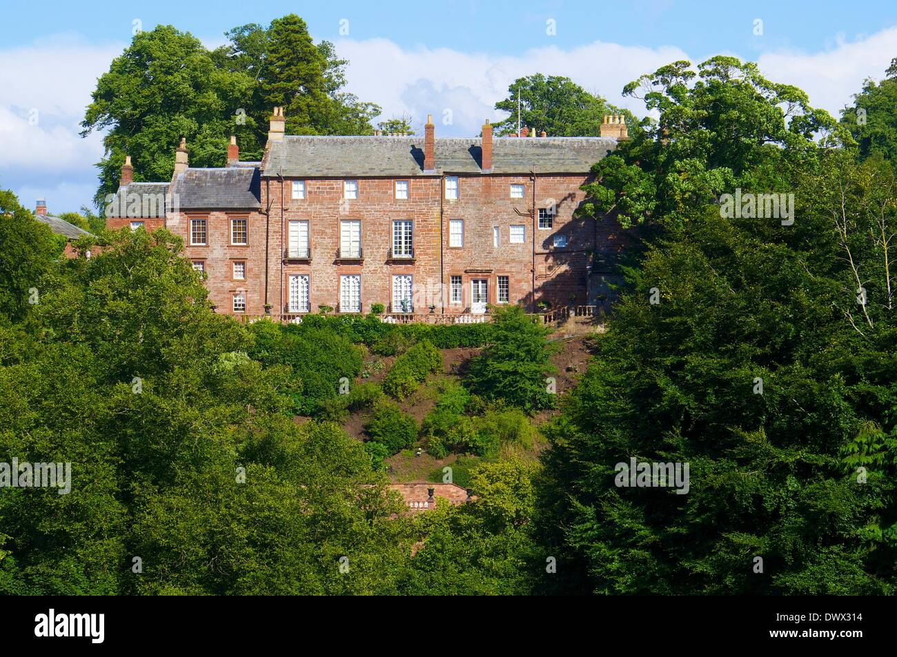 Corby Castle owned by the late Dr Edward Haughey, Baron Ballyedmond. Great Corby near Wetheral, Carlisle, Cumbria, England. - Stock Image