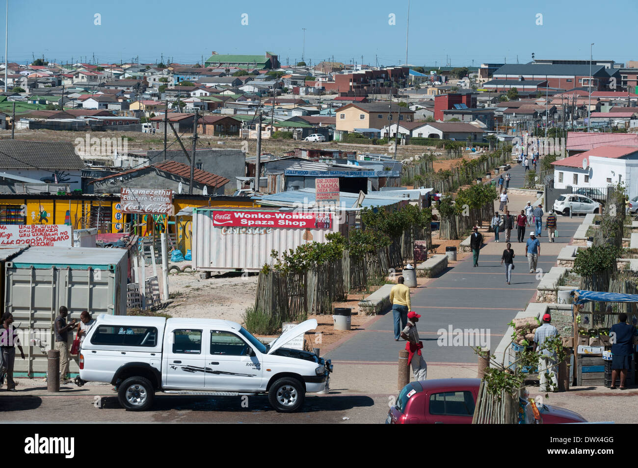 Panoramic view over a street and houses in Khayelitsha, Cape Town, Western Cape, South Africa - Stock Image