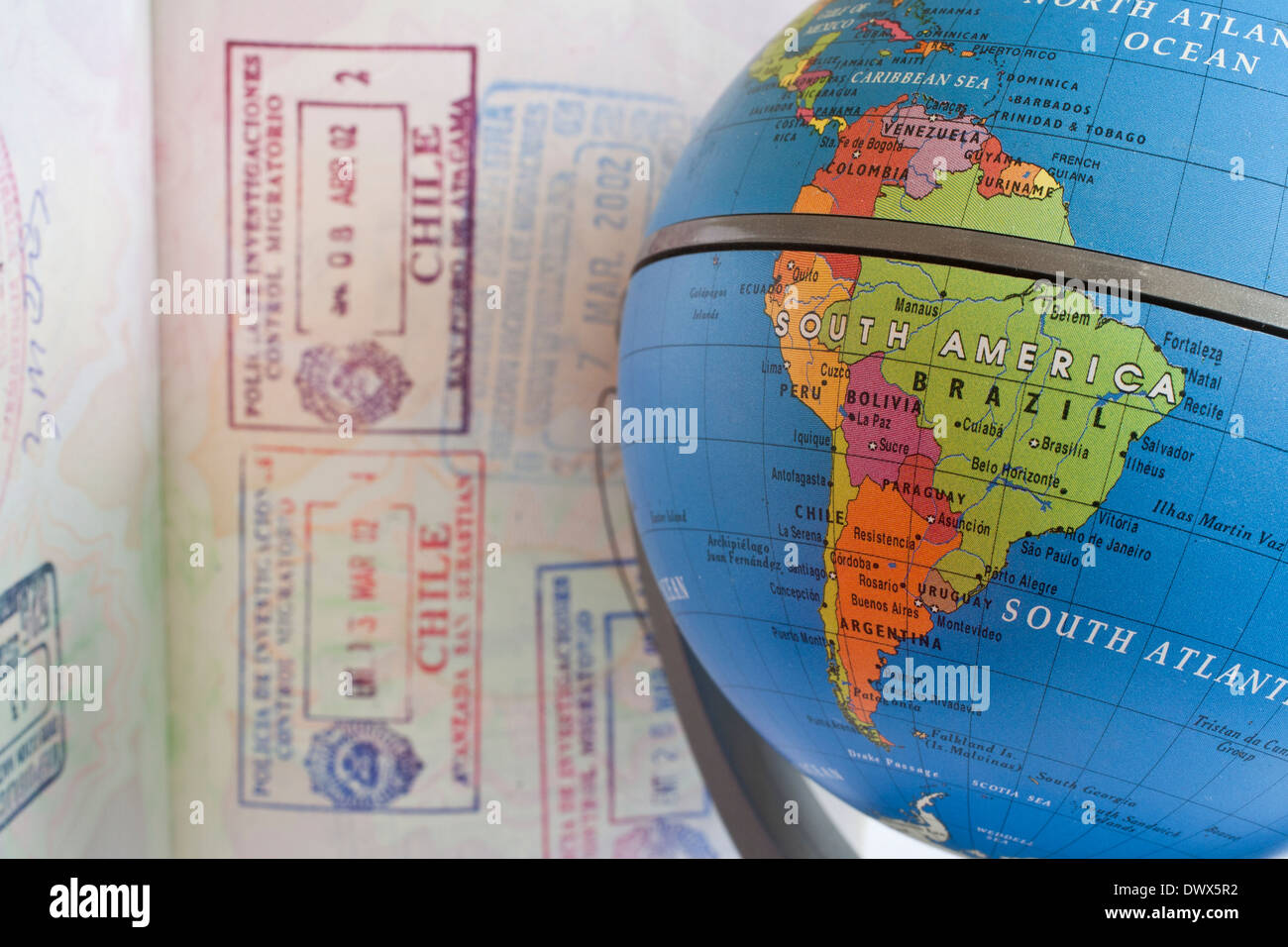 Globe and passport Stock Image South